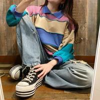 韓国製デザイン襟付きスウェット
