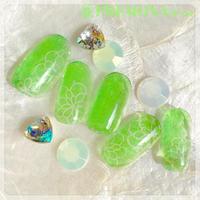 【10枚セット】ガラスフラワー(ライトグリーン)/SET1520-1529