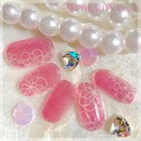 【10枚セット】ガラスフラワー(ピンク)/SET1500-1509
