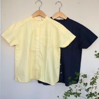 オックス製品染めスタンドネック半袖シャツ