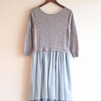 【sample SALE】tulle flower Onepiece mint grey
