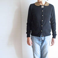 angora collar Cardigan beige collar + clear brooch