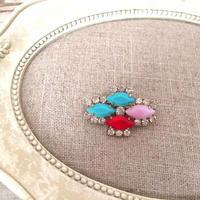 bijou brooch ③ matte blue  x pink