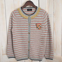 【1点物】cashmere marine Cardigan grey x red