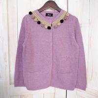 【1点物】pompom Cardigan  purple