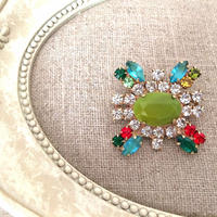 bijou brooch ④  green x clear x multi