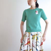 feather bird Pull over  green