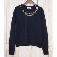 bijou necklace Pullover navy