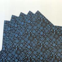 KPM027-B Wrapping Paper  #1FLEURON ブルー 5枚