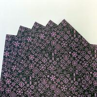 KPM027-P Wrapping Paper  #1FLEURON パープル5枚