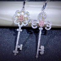 ピンクダイヤモンド鍵ネックレス(フラワー、クローバー)2種