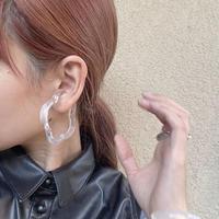 glassflower earcuff(whitemarble)