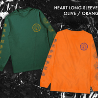 HEART LONG SLEEVE T - OLIVE/ORANGE