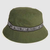 "PASS~PORT ""BARBS"" RIBBON CANVAS BUCKET CAP OLIVE"