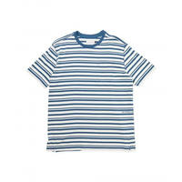 POP TRADING  BLAINE STRIPED POCKET T-SHIRT OFFWHITE/DARK TEAL