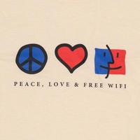 FREE WIFI PEACE, LOVE & FREE WIFI LONG SLEEVE TEE BEIGE