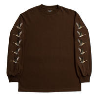 GRAND COLLECTION FLOCK LONG SLEEVE TEE ESPRESSO