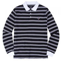 MAGENTA STRIPPED L/S POLO - BLACK