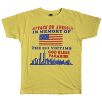 PARADISE NYC ATTACK ON AMERICA TEE YELLOW