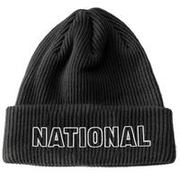 THE NATIONAL SKATEBOARD CLASSIC TEXT ORGANIC BEANIE - BLACK