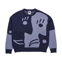POLAR SKATE CO. ART KNIT SWEATER Dark blue / Dusty blue