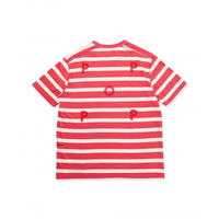 POP TRADING COMPANY BIG STRIPE T-SHIRT CORAL/OFF WHITE