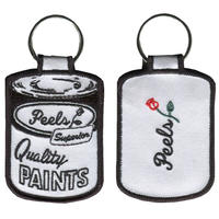 Peels White Paint Can Embroidered Patch Key Chain