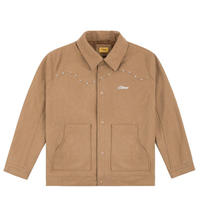 DIME STUDDED WOOL BOMBER TAN