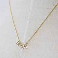 《ちいさな蝶々結び》K10イエローゴールド・ダイアモンド・ネックレス(フリーアジャスター)