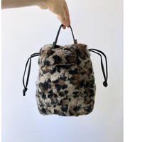 rabbit fur drawstring bag