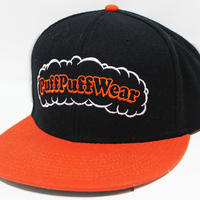 【刺繍】Puff Puff SNAPBACK CAP (BLACK/ORANGE)