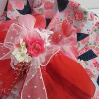 紺時薔薇柄浴衣&赤ピンク帯の浴衣^^