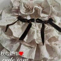 秋色マーガレット刺繍のフリルワンピ^^