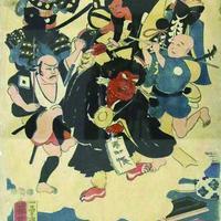 歌川國芳『浮世又平名画奇特』(左図)