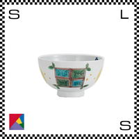 九谷焼 道場八重 茶碗 窓と月文様 Φ11/H5.5cm ライスボウル ハンドメイド 日本製