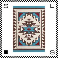 アートワークスタジオ Hills ヒルズ ラグ ネイティブアメリカン風 Lサイズ ブルー 200×140cm ハンドメイド 床暖房・Hカーペット対応 TR-4241-BL