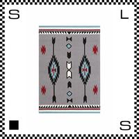 アートワークスタジオ Chimayo チマヨ ラグ ネイティブアメリカン風 Mサイズ グレー 80×50cm ハンドメイド 床暖房・Hカーペット対応 TR-4280-GY