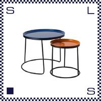 CAMBRO キャンブロ ローテーブル セット ブラックフレーム ブルー:天板(Lサイズ) オレンジ:天板(Sサイズ) アメリカ製