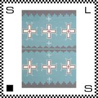 アートワークスタジオ Cross クロス ラグ ネイティブアメリカン風 Lサイズ ライトブルー 200×140cm ハンドメイド 床暖房・Hカーペット対応 TR-4239-LBL
