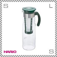 HARIO ハリオ かご網付き水出し茶ポット ダークグリーン 1200ml W125/D93/H290mm 茶こし付き フィルター付き ウォーターボトル 日本製 hcc-12dg