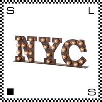 アートワークスタジオ バルブサインランプ NYC W560/H183mm 自立式 フック用穴あり レトロアメリカン スタンドライト アイアン スチール AW-0402V