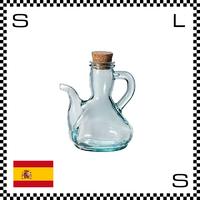 リサイクルガラス ガラスオイルボトル 250cc Φ100/W115/H146mm ハンドル付き コルク蓋 カフェ スペイン製 g490044
