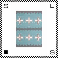 アートワークスタジオ Cross クロス ラグ ネイティブアメリカン風 Mサイズ ライトブルー 140×100cm ハンドメイド 床暖房・Hカーペット対応 TR-4281-LBL