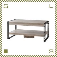 コーヒーテーブル W100/D50/H45.5cm 棚あり ブルックリンスタイル ブラックスチールフレーム azu-ol570