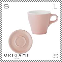 ORIGAMI オリガミ カプチーノカップ&ソーサー マットピンク 6oz 180cc コーヒーカップ&ソーサー バリスタが設計 日本製