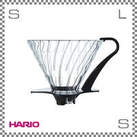 HARIO ハリオ V60耐熱ガラス透過ドリッパー03 ブラック 1~6杯用 W117/D125/H160mm 耐熱ガラス製 計量スプーン付き ブリューワー 日本製 vdg-03bk