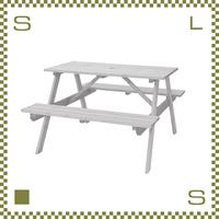 テーブル&ベンチ ライトブラウン W120/D135/H75.5/SH45cm ベンチ一体化テーブル ガーデンテーブル azu-ods92wh