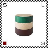 山中漆器 木の小物入れ BORDER ボーダー 平型 グリーン×ナチュラル×ブラウン Φ135/H141mm 小物入れ ハンドメイド 日本製