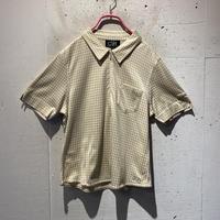checkers pattern half zip shirt