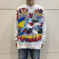 "90s ""LOONEY TUNES"" print sweat shirt"